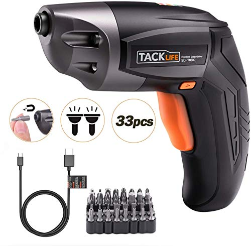 TACKLIFE Cordless Screwdriver, Electric Screwdriver Rechargeable 3.6V 2000mAh Lithium Ion Battery with 33Pcs Free Screw Bits Set,USB Charging with Two LED,SDP70DC