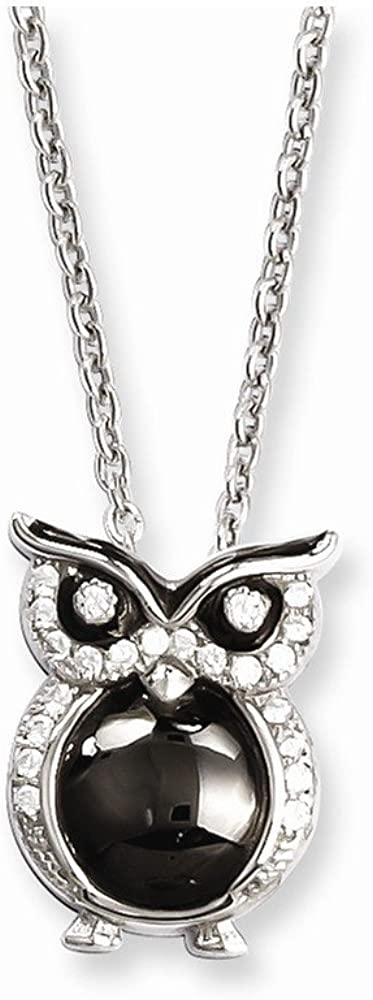 Solid 925 Sterling Rapid rise Silver Al sold out. CZ Cubic Owl Zirconia Necklace Pendant