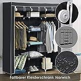 Juskys Stoff Kleiderschrank Norwich faltbar - 2 Kleiderstangen á 25 kg - 9 Böden á 5 kg - 150 × 45 × 175 cm - schwarz - Stoffschrank Schrank