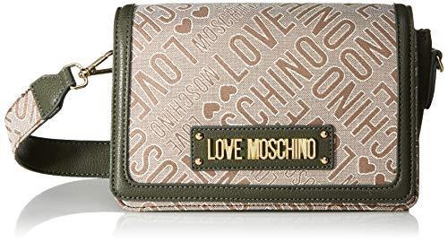 Love Moschino Jc4013pp18lb110a, Bolsa de mensajero Unisex Adulto, Verde (Natural/Verde), 14x10x23 centimeters (W x H x L)