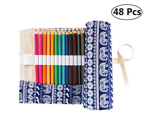 SKKSTATIONERY 48 Pcs Colored Pencils, Bonus Pencil Wrap, Travel Drawing Coloring Pencil Roll Organizer For Artist.