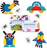 BBLIKE Tangram, 36 Montessori Puzzle Bois + 60 PCS Cartes de Conception Jouets Éducatifs Jeux de Tri et d'Empilement pour les Enfants (Multicolore)