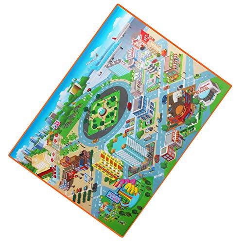 aolongwl Cuidado del bebé juego Mat niños ruta mapa ciudad gatear pad impermeable plegable niños alfombra al aire libre juguete