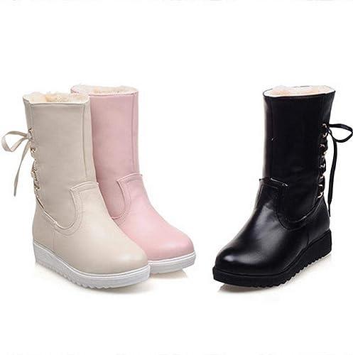 ZHRUI Stiefel para damen - Stiefel para la Nieve Calientes Antideslizantes de Invierno Stiefel de Cuero Stiefel de Estudiantes Stiefel Planas   34-41 (Farbe   schwarz, tamaño   EU 40)