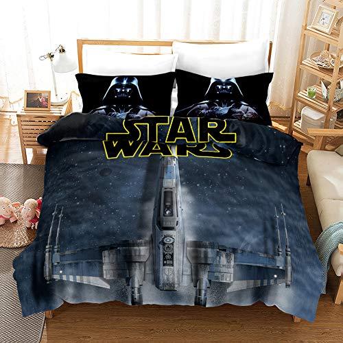 Yomoco - Juego de ropa de cama de La guerra de las galaxias, funda de edredón y funda de almohada, microfibra, impresión digital 3D, juego de cama de tres piezas, 13, Double 200x200cm