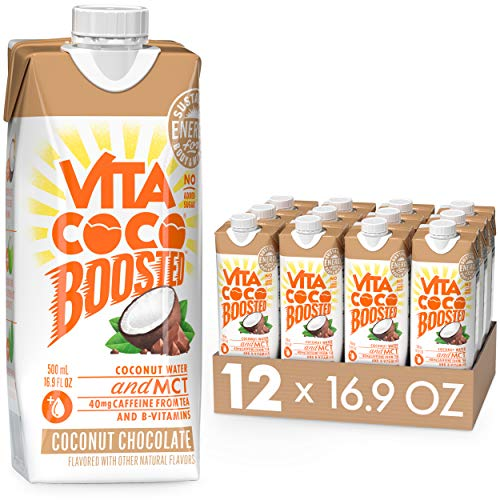Vita Coco Boosted Coconut Water with MCT Oil, Coconut Chocolate I Tea Based Caffeine I Coffee Drink Alternative for Natural Energy I Vitamin B I 16.9oz (Pack of 12)