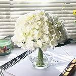 Silk Flower Arrangements Home 10 Stem Cream Silk Hydrangea Flower in Round Clear Glass Vase with Faux Water Handmade