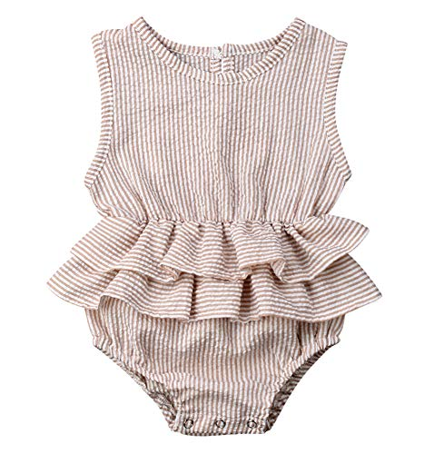 Bowanadacles Newborn Baby Girl Romper Jumpsuit Cotton Linen Sleeveless Ruffled Bodysuit Infant Summer Clothes Outfits