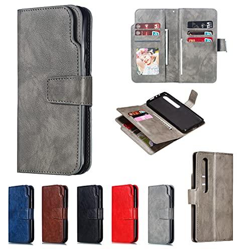 Lusso Nove Slot Titolare Della Carta PU Custodia Portafoglio Flip Cover Protettiva per Xiaomi Redmi (Grigio, Redmi Note 4X/4)