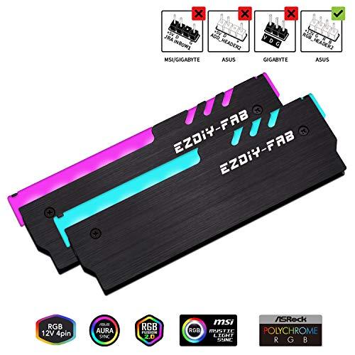 EZDIY-FAB 12V RGB Speicher RAM Kühler DDR Kühlkörper für DIY PC Spiel Overclocking MOD DDR3 DDR4 (kompatibel mit ASUS Aura Sync, MSI Mystic Light Sync, ASRock Polychrome) - Schwarz-2 Pack