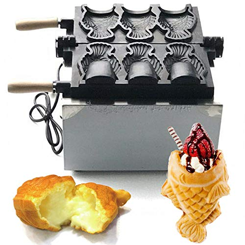 New 3Hole Electric Taiyaki Machine,Waffle Maker Pancake Commercial Nonstick Electric Fish Waffle Ice...