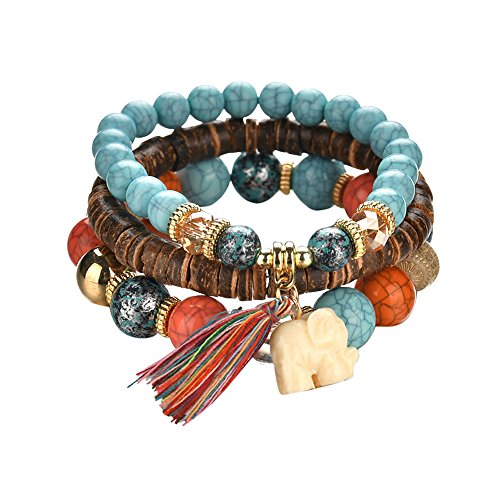 Granos de la joyería Mujeres Hombres Pulseras con dijes de cristal Brazaletes multicapa Color caramelo (Silver)