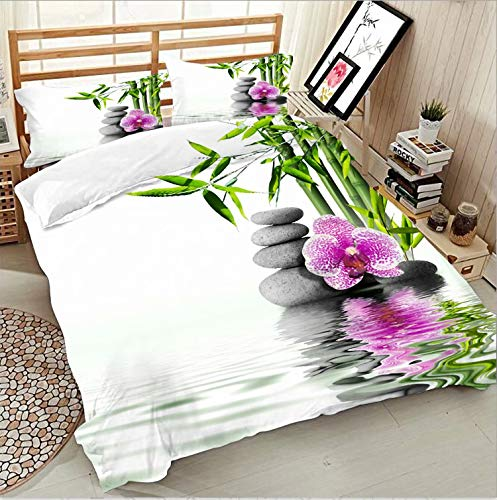 ATOLY Flat Sheet 100% Polyester- Best for Hotel, Spa, Hospitals and Home,Phalaenopsis Flower Stone Bamboo,71x91In Twin