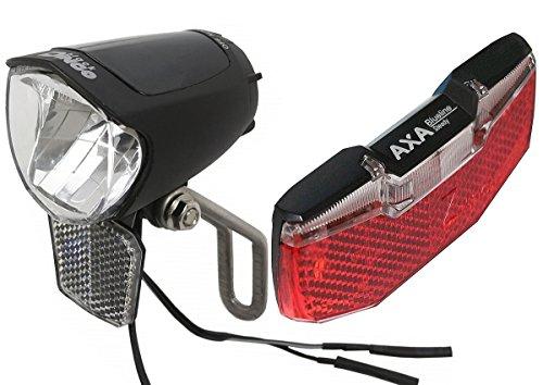 Black Dingo Cycling Products BDCP Lampenset 75 SL Steady mit Axa Blueline Rücklicht mit Standlicht für Nabendynamo StVZO zugelassen