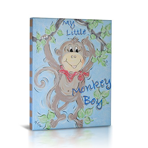 Green Frog Canvas Gallery Wrapped Art Decor, My Little Monkey Boy by Green Frog