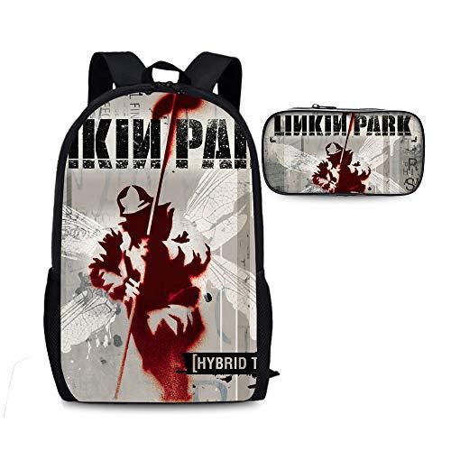 Linkin Park Kinder-Rucksäcke Schule 2 Stück Sets Rucksäcke + Bleistift-Beutel for Studenten Hipster Schoolbag West Stilvolle Daypack Unisex Kinder (Color : A04, Size : 28 X 13 X 44cm)