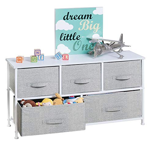 Great Deal! mDesign 5-Drawer Dresser Storage Unit - Sturdy Steel Frame, Wood Top and Easy Pull Fabri...