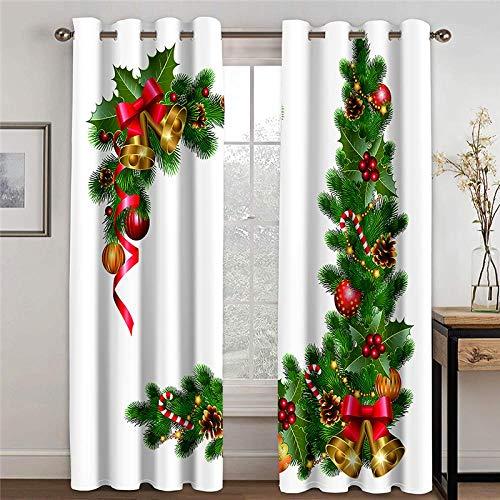 LOVEXOO 3D Stampate Tende Albero di Natale L75xA166cm Tenda a Occhiello - Tende in Poliestere Anti-UV 3D Stampante Pannelli Finestra Tendiini per Porta