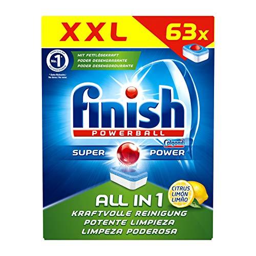 Finish All in 1 Citrus Spülmaschinentabs, Geschirrspültabs für kraftvolle Reinigung, Geschirrspülmittel, XXL Pack, 63 Tabs