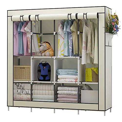 UDEAR Portable Closet Large Wardrobe Closet Clothes Organizer with 6 Storage Shelves, 4 Hanging Sections 4 Side Pockets,Beige