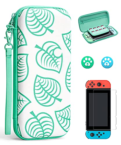 Arttodo Portable Carrying Case for Nintendo Switch Game Console, Hard Shell Durable Protective Switch Bag Animal Crossing Case for Switch, Attached Screen Protector and Thumb Grip Cap(for Switch)