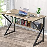 NOBLEWELL Computer Desk with Bookshelf, 47 Inches Computer Writing Desk with Storage,Wood and Metal Frame Desk for Home Office Study Gaming, Light Brown