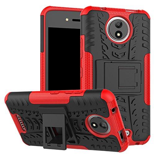 MAMA MOUTH Moto C Hülle, [Heavy Duty] Rugged Armor stoßfest Handy Schutzhülle Silikon Tasche Ständer Hülle Hülle mit Standfunktion für Motorola Moto C Smartphone,Rot