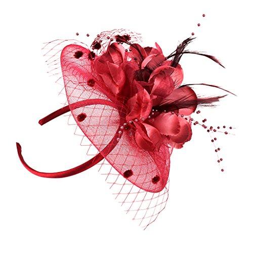 joyMerit Mujeres Niñas Flor Net Fascinator Boda Cabello Banda Tocado para Cotail...