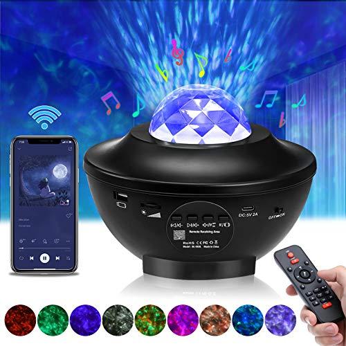LED Sternenhimmel Projektor, Elfeland Sternenlicht Projektor Projektionslampe Kinder Rotierende Wasserwellen Sternenprojektor mit Fernbedienung/Bluetooth/Timer/Lautsprecher, Nachtlicht für Geschenke