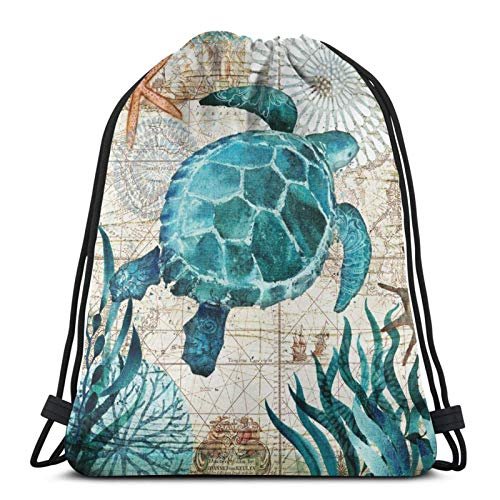 Marine Life Theme Sea Turtle Drawstring Backpack Bag Sport Gym Hiking Yoga Swimming Travel Beach Sackpack for Women Men