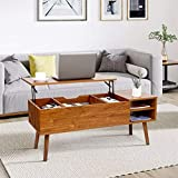Modern Lift Top Coffee Table for Living Room - amzdeal Sturdy Lift Top Table Easier to Lift Up and close, with Larger Hidden Compartment and Adjustable Storage Shelf, Lift Tabletop Dining Table