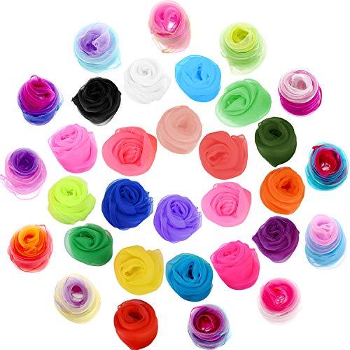 TecUnite 32 Stücke Square Tanzen Schal Magische Schals Jonglierschal für Kinder, 24 x 24 Zoll (32 Farben)