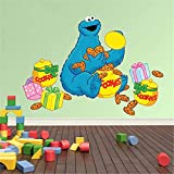 yaunor Sesame Street Stickers Sesame Street Peel and Stick Wall Decals Kids Wall Sticker Triky with Boxes of Cookies