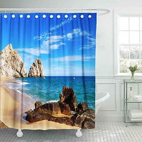 HerysTa Hotel Shower Curtain,Spa Shower Curtain The Beauty Mexico California Picturesque View Lovers Beach Its The Most Beautiful 72X78Inch Modern Shower Curtain Home Bathroom Decorations