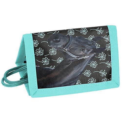 P A S O kinderportemonnee 12 x 8 x 1,5 cm – uitvoering naar keuze. 12 x 8 x 1,5 CM Paard zwart-turquoise