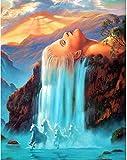 REXIAN Kit Punto croceScena a Cascata Kit da Ricamo Fatto a Mano Fai da Te Kit da Ricamo a Mano per Principianti Adulti, Decorazioni per pareti di casa Soggiorno (40 * 50) 11CT