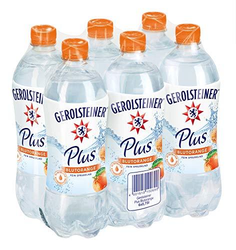 Gerolsteiner Plus Blutorange / Natürliches Mineralwasser mit fein sprudelnder Kohlensäure, kombiniert mit fruchtigem Blutorangen Aroma / 6 x 0,75 L PET Einweg Flaschen