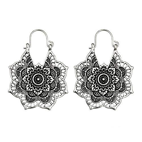 SO-buts Mode Damen Ohrringe Hoop Mandala Ohrringe Boho Retro hohlen Blume Legierung Ohrringe (Silber)