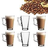 6X Latte Glasses Tea Coffee Cappuccino Hot Drink Mug Cups 240ml High Temperature Resistant