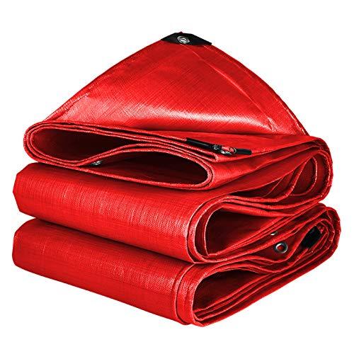 Multiusos Impermeables Lona Cubrir,Servicio Pesado 13 Mils Resistente A Los Rayos UV Lona Alquitranada Canopy para Piscina Al Aire Libre Acampada Coches Barcos Lona con Ojales-Rojo 13x22.5ft