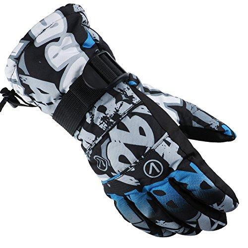 [X.A] スキー グローブ スノボー グローブ スキー 手袋 登山 手袋 防寒グローブ 防水 防寒 保温 通気性 サイズ選択可 (ブラック/ホワイト, Mサイズ(成年の女性及び未成年の男性))