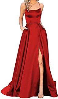 Satin A-Line Side Split Long Prom Dresses With Pockets For Women