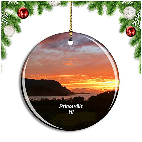 Weekino Princeville Kauai Hawaii USA Christmas Ornament Xmas Tree Decoration Hanging Pendant Travel Souvenir Collection Double Sided Porcelain 2.85 Inch