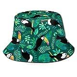 Sombrero de Cubo Packable Reversible Toucan Jungle Acuarela Verde Imprimir Sombrero para el Sol Sombrero de Pescador Gorra Acampar al Aire Libre