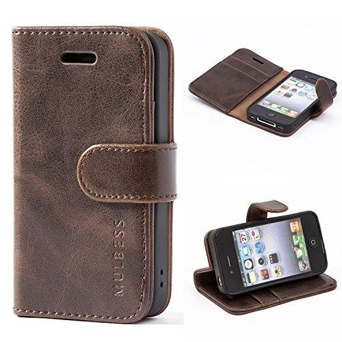 Mulbess Handyhülle für iPhone 4s Hülle Leder, iPhone 4s Handy Hüllen, Vintage Flip Handytasche Schutzhülle für iPhone 4 / 4s Hülle, Kaffee Braun