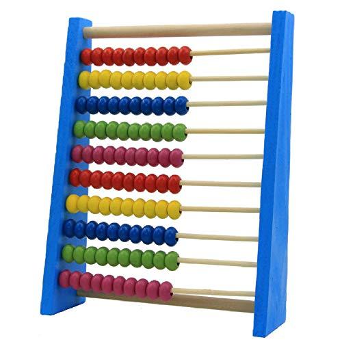 YUYON Cornice per Conteggio in Legno di Abaco per Bambini, Puzzle di 100 Perline, Adatta per L'apprendimento di Giocattoli Matematici (20 Cm),Blue
