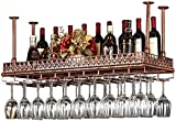 Bedspread Wall Wine Racks Metal Iron Storage Shelf in Bar Loft Ceiling Wall Mounted Hanging Wine Champagne Glass Goblets Stemware Rack Wine Bottle Holder (Color : Black, Size : 120×35cm)