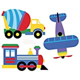 Wallies Vinyl Wall Decals, Peel and Stick Trains Planes and Trucks Stickers for Boys Bedroom or Playroom, 6 Pc