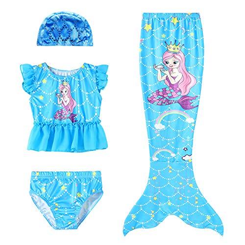 D C.Supernice Cola de Sirena Niña para Nadar Estampado de Arcoíris Disfraz Sirenita Trajes Bikini y Diadema Flores o Gorro Natacion