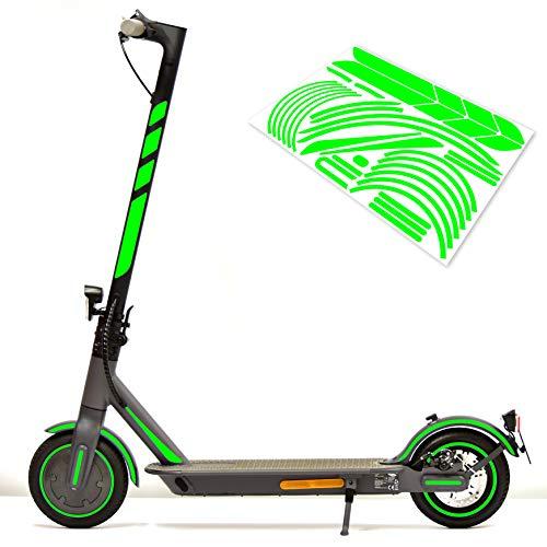 m2medien Aufkleber-Set (30-teilig) Sticker-Set auf 35x24cm Bogen geeignet für Doc-Green ESA 5000 1919 Xiaomi M365 E-Scooter (Neon-Grün)